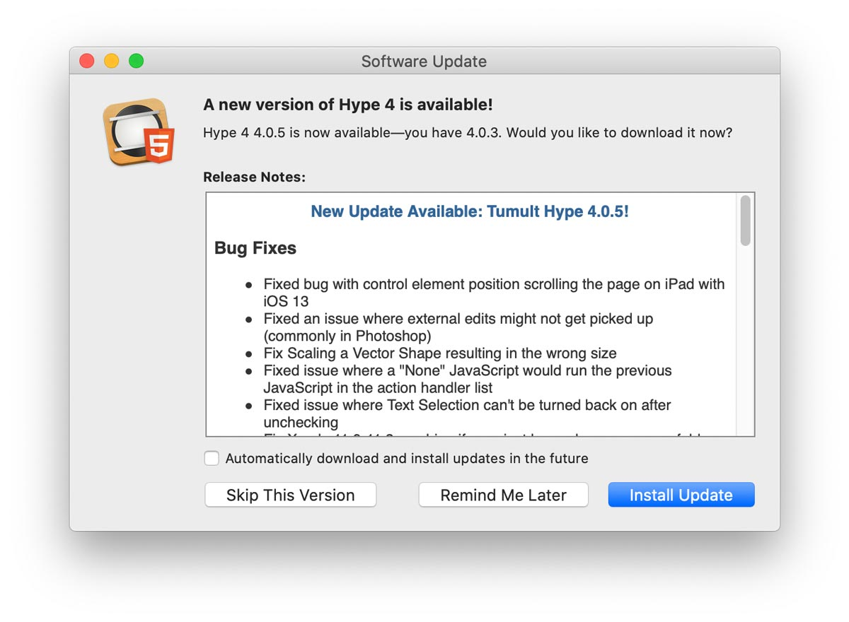 Tumult Hype 4.0.5 Update Now Available