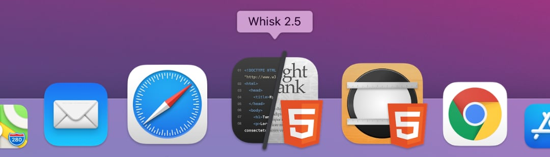 Whisk 2.5 in the macOS 11 Big Sur Dock